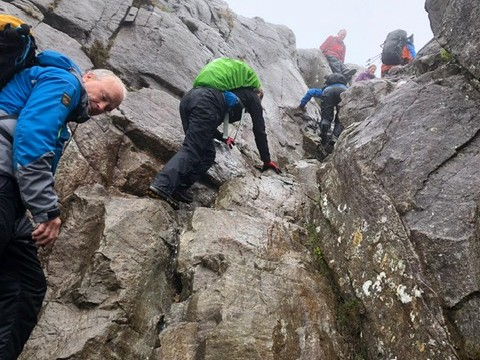 Welsh 3000s 14 peaks challenge scrambling up Pen Yr Olde Wen