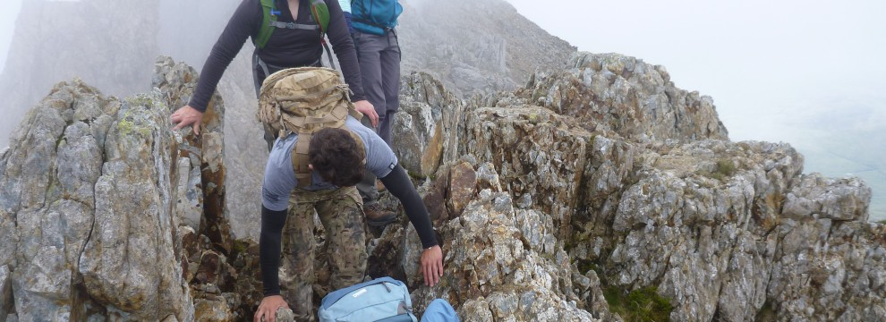Welsh 3000s 14 peaks challenge technical sections on Crib Goch