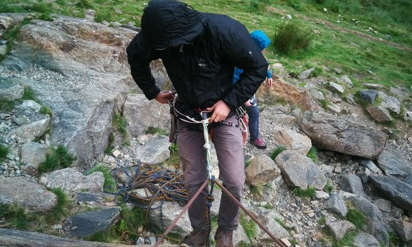 Learning how to abseil safely off a multi pitch climb