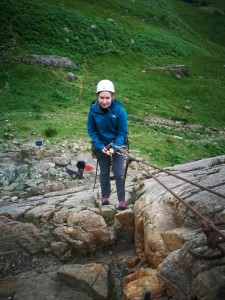 Rock climbing in Snowdonia abseiling safely with a prusik