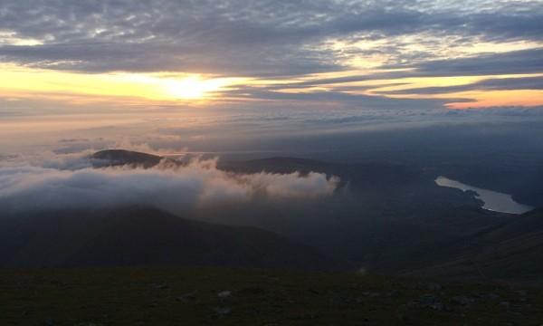 Rock scrambling in Snowdonia Crib Goch sun rise